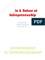 Origin & Nature of Entrepreneurship