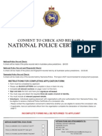 Consent to Check and Release a National Police Certificate July 2010