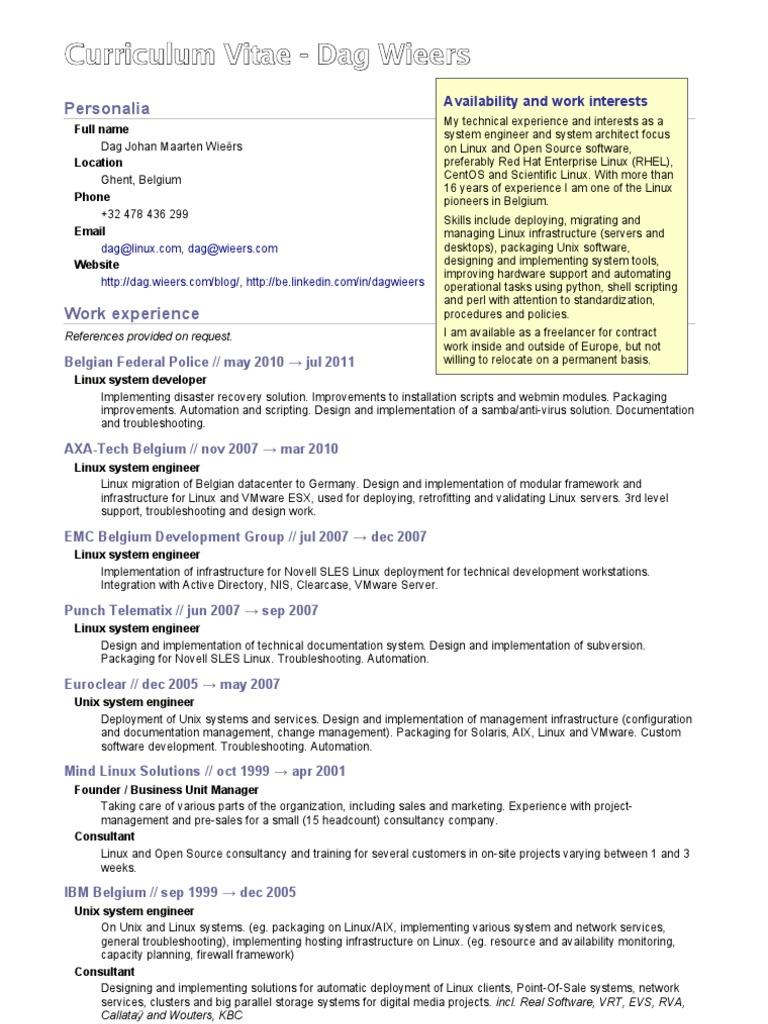 Bonito Curriculum Vitae De Linux Galería - Colección De Plantillas ...