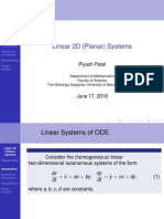 Linear Planar Sytems in ODE