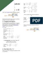 Derivation of Quadratic Formula
