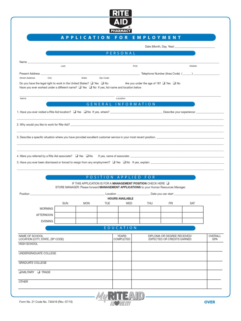 RiteAid Employment Application | Criminal Procedure In South Africa ...