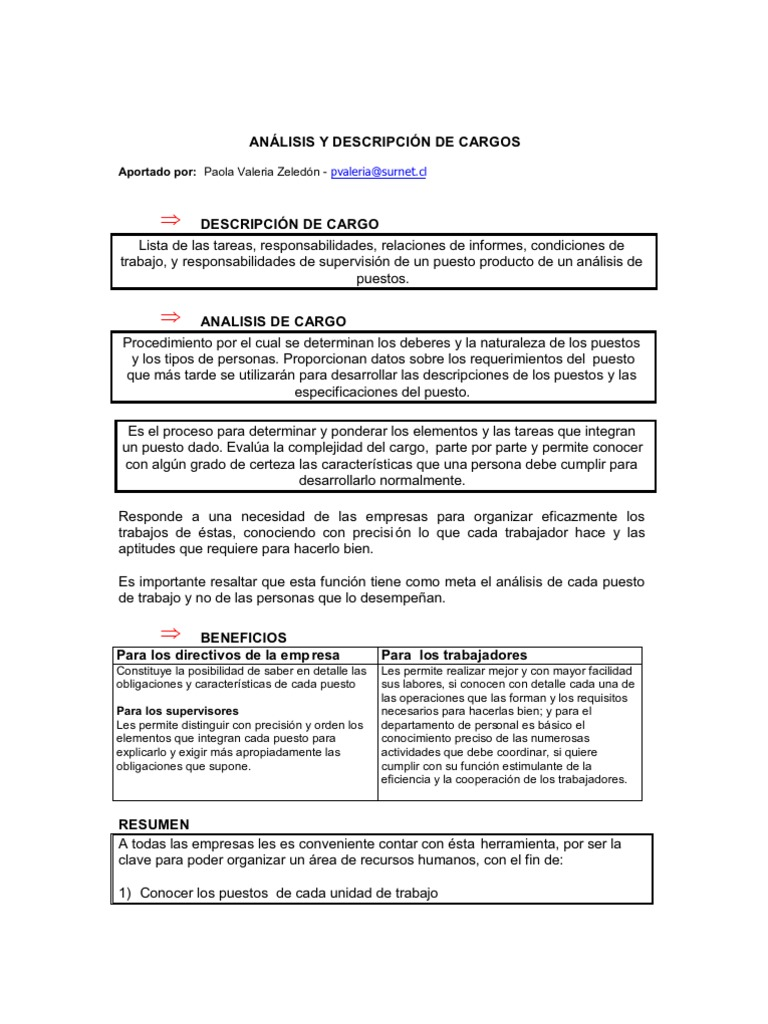 ANÁLISIS Y DESCRIPCIÓN DE CARGOS