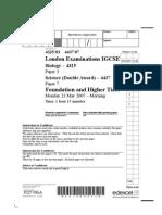 2007 iGCSE Biology Course Work Alternative Question Paper