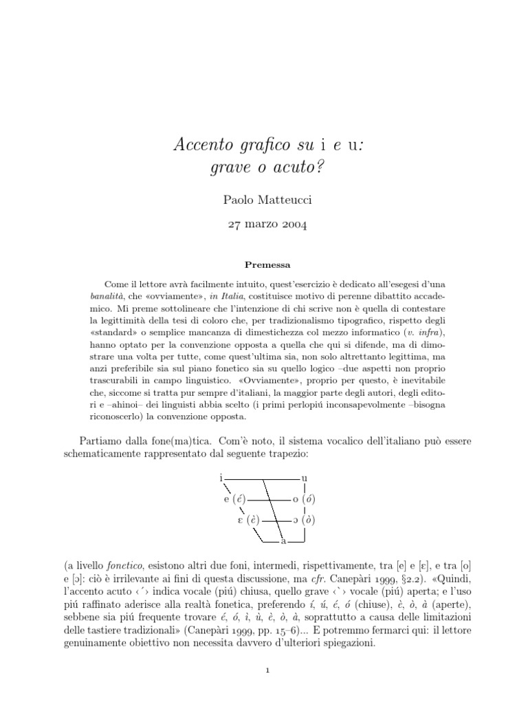 Italiano - Accento Su i e u | Phonetics | Phonology