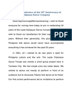Speech for Benefactors at the 50th Anniversary of the Leyte Kalipayan Dance Company