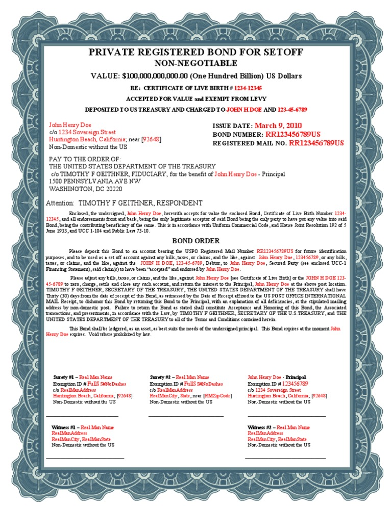 Birth certificate bond for Acceptance for value template