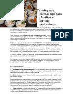 Unidad I - Tips Para Planificar Un Servicio Gastronomico