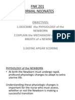 Fnk 201 Physiology Neonate