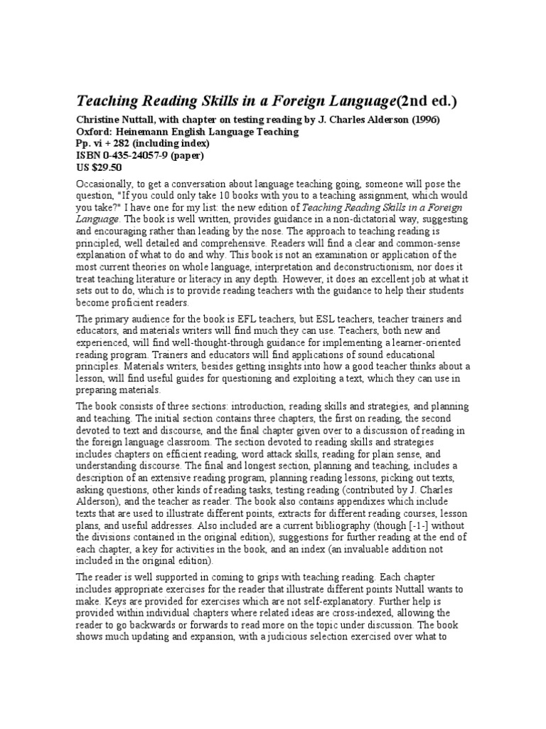 teaching english as a foreign language integrated skills approach They did not stress the communicative uses of languagethis is an approach to foreign language teaching which emphasizes the learners the language skills - both written diane larsen- freeman the practice of english language teaching jeremy harmer eric clearing.