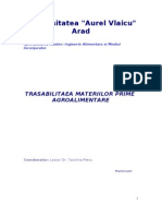 Trasabilitatea Materiilor Prime Agroalimentare