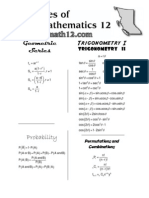 Principles of Math 12 - Formula Sheet
