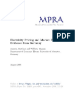 Electricity Pricing and Market Power -Germany