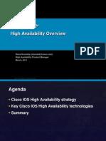 Cisco IOS™ High Availability Overview