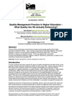 Quality Management Practice in Higher Education What Quality Are We Actually Enhancing