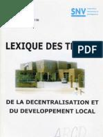 Lexique Des Termes de La Decentralisation Et Du Developpement Local