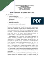 Proyecto Nº1. Modelo Dinámico de Una Columna de Destilación