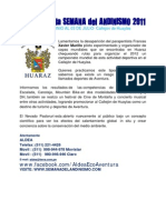 INFORME Y RESULTADOS DE LA COMPETENCIA DE LA SEMANA DEL ANDINISMO 2011