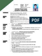 CV Professional Ahmad Fraz(QUANTITY SURVEYOR)