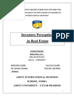 Summer Training Report- Ritika | Real Estate Investment Trust
