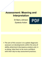Barry Johnson - Aptitude-Achievement Consistency Analysis - Dyslexia Conference 2011