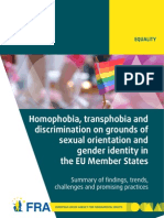 Homophobia, transphobia and discrimination on grounds of sexual orientation and gender identity in the EU Member States