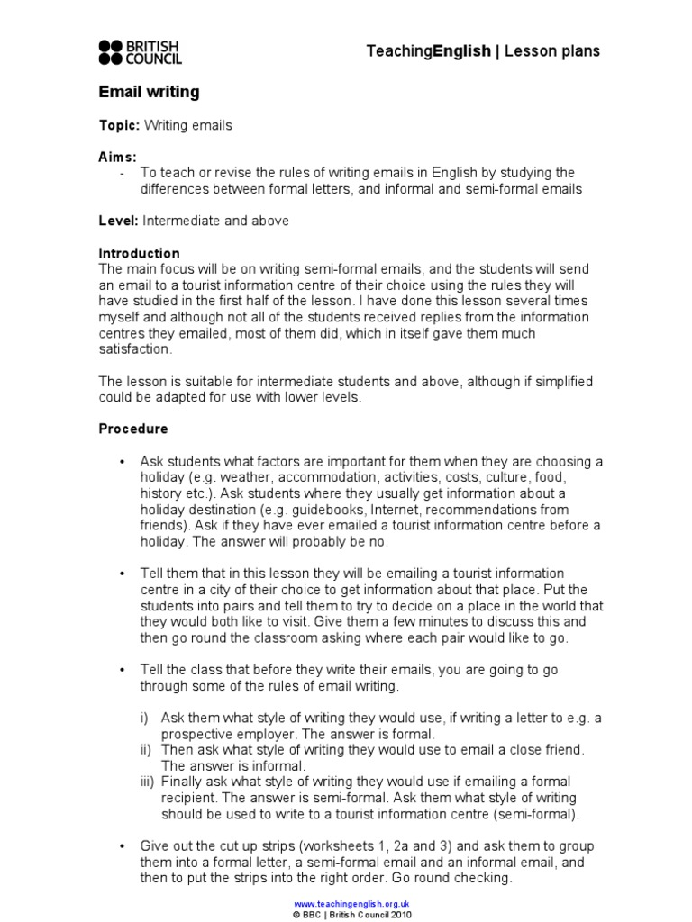 Email Writing Lesson Plan  Lesson Plan  Email