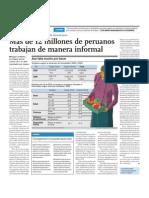 Más de 12 millones de peruanos trabajan de manera informal