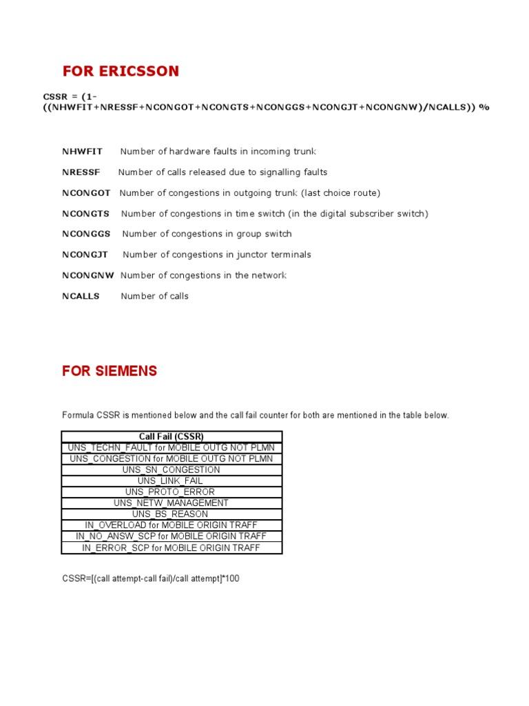 Cssr Formulae Vodafone Telecommunications Electrical Engineering