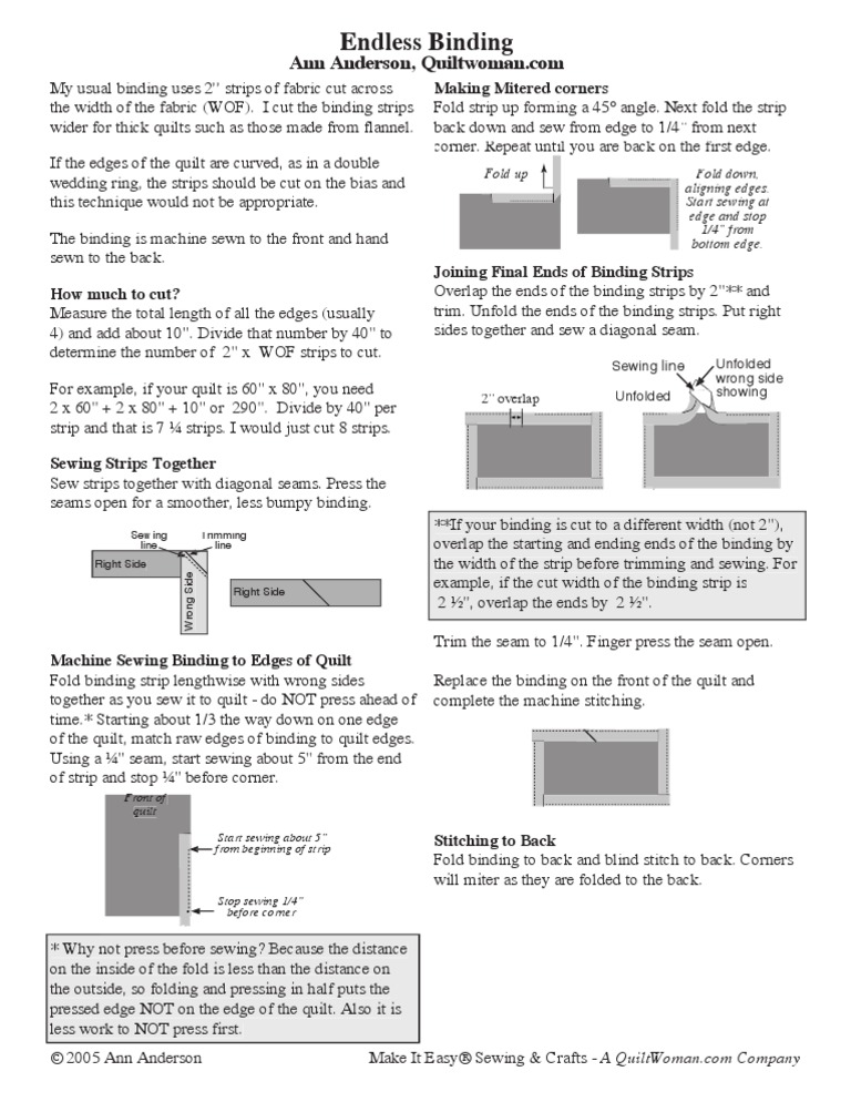 Endless Binding | Seam (Sewing) | Decorative Arts : quilt binding strip width - Adamdwight.com