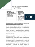 Appeal  Case draft under Karnataka Land Reforms Act section 118