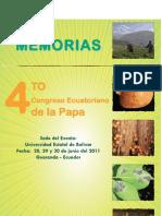 Memorias del IV Congreso Ecuatoriano de la Papa (Guaranda, Ecuador, 28-30 de junio de 2011)