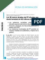 Los 26 nuevos alcaldes del PP afrontan una deuda heredada de 842 millones de euros