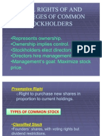 Legal Rights of and Privileges of Common Stockholders