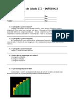 Trabalho de calculo 3 - questões integrais