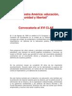Convocatoria Al XVI CLAE 2011