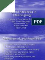 Regional Anesthesia in Otolaryngology