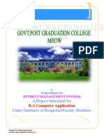 Student Management System  Application (in visual Basic and Database)