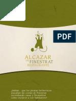 Carta Restaurante Alcazar de Finestrat Alicante 2011