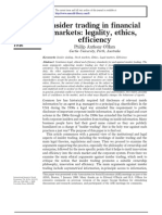 Insider Trading in Financial Markets Legality, Ethics, Efficiency