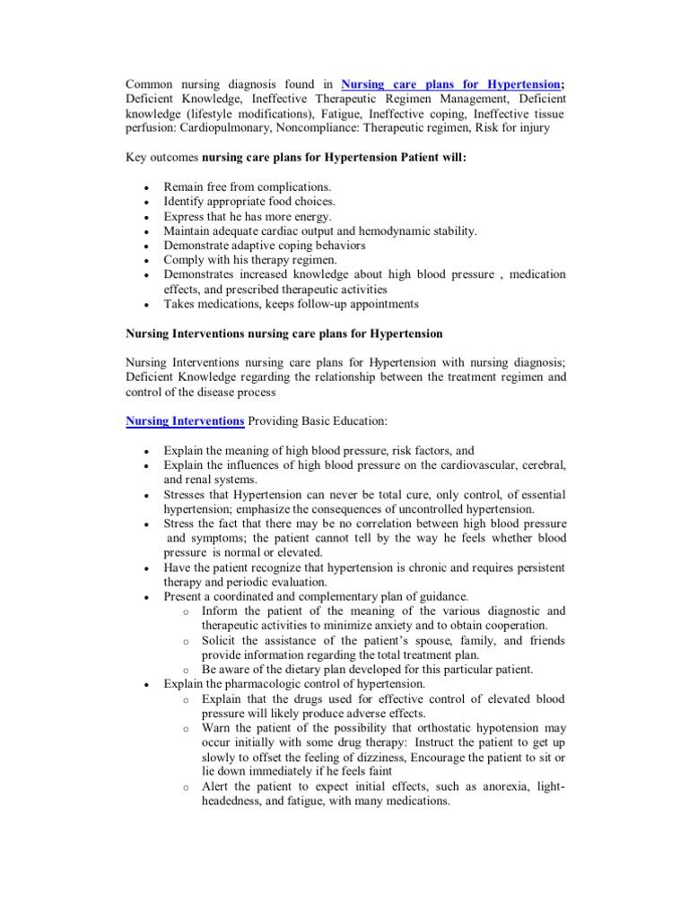 Common Nursing Diagnosis Found in Nursing Care Plans for ...