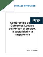 Compromiso de los Gobiernos Locales del PP con el Empleo, la Austeridad y la Transparencia
