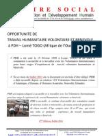 Opportunité de travail humanitaire volontaire et bénévole à PDH Lomé TOGO 4ème Edition Juillet 2011