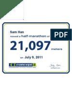 Concept2 2011 July 09 Half Marathon Certificate
