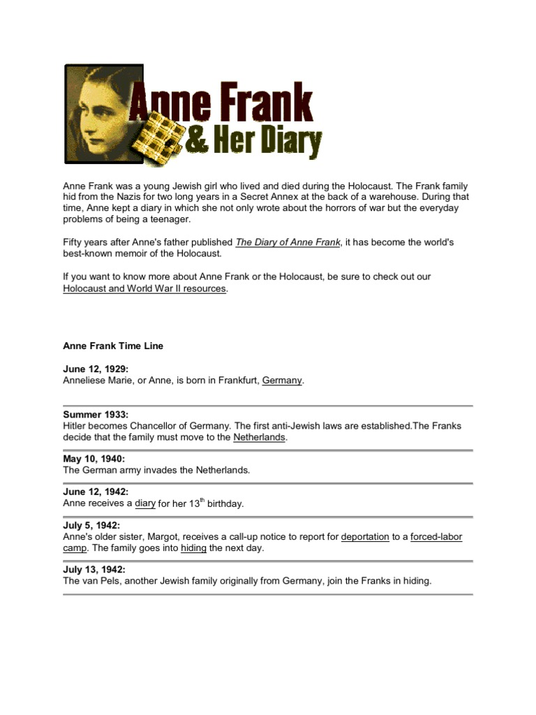 Extracts from the diary of Anne Frank (1942-44)