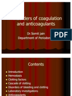 Hemostasis,Clotting Disorder and Anticoagulants