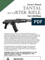 Tantal Sporter, AK-74 Rifle, Owners Manual