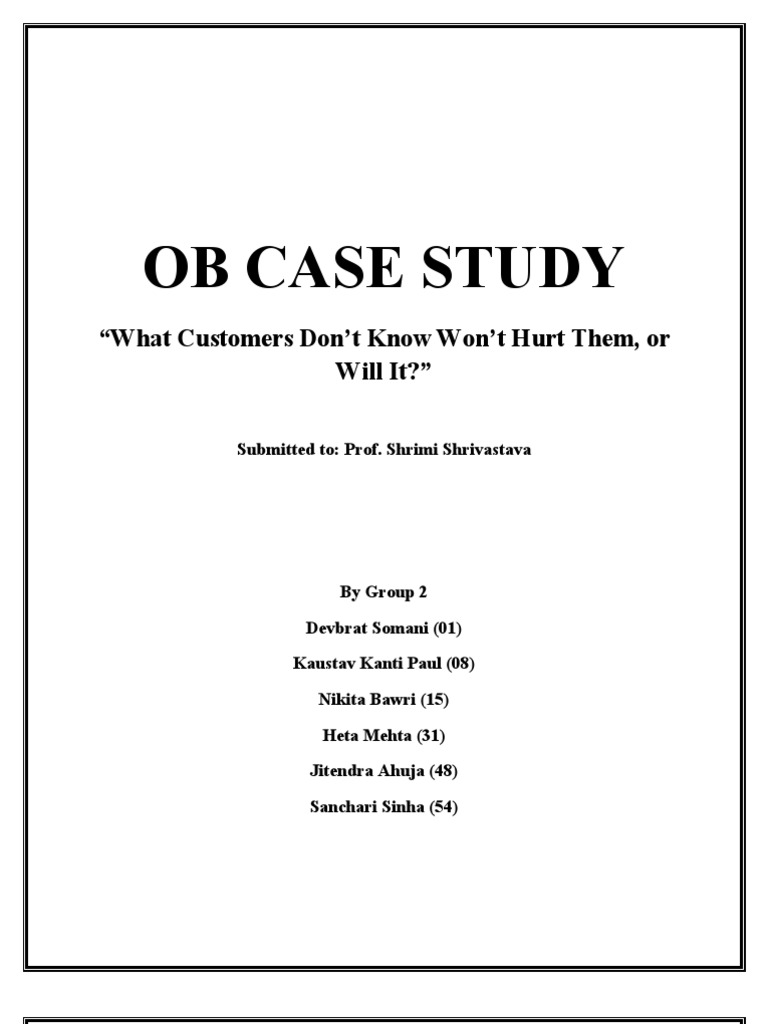 ob case study 1 Read chapter chapter 8 - case studies: trb's national cooperative highway  research program (nchrp) report 606: forecasting statewide freight toolkit.