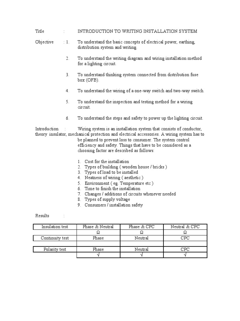 Report 6 (EEE111) | Electrical Wiring | Switch