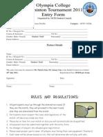 OCPJ Badminton Tournament 2011 Register Form